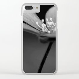 Blue spring flower Hepatica in bw III Clear iPhone Case