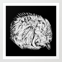 Sleepy White Kitty Art Print