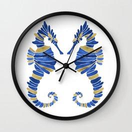 Seahorse – Navy & Gold Wall Clock