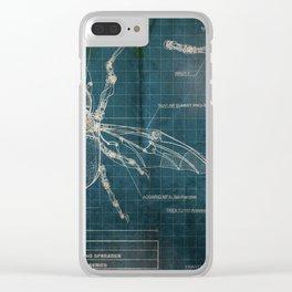 Mechanical Beetle Blueprint Clear iPhone Case