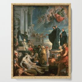 The miracles of St. Francis Xavier by Peter Paul Rubens Serving Tray