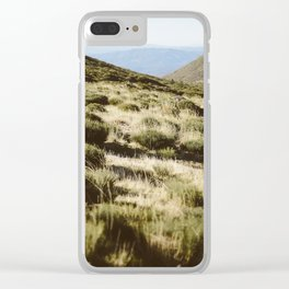Mountains, green, beige, road, nature, sky, blue Clear iPhone Case