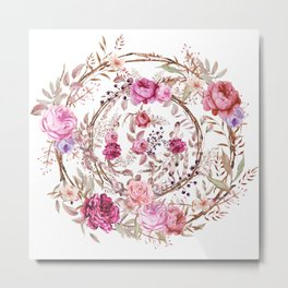 Bouquet of MOST Beautiful Vintage Rose - wreath Metal Print