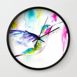 Colorful Hummingbird Wall Clock
