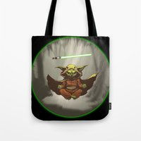 yoda Tote Bags featuring Yoda by Marc Vuletich