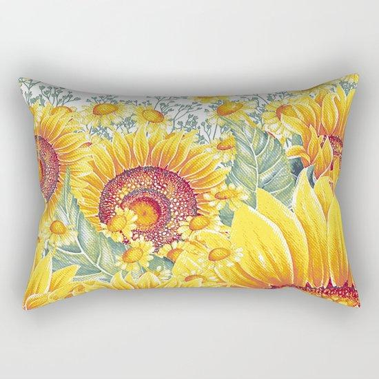Vintage Garden 15 (Sunflower Field) Rectangular Pillow