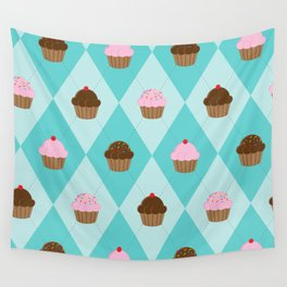 Argyle Cupcakes Wall Tapestry
