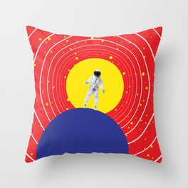 Lone Astronaut on an Atomic Mission - Red Throw Pillow