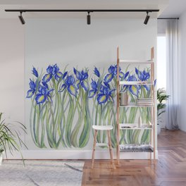 Blue Iris, Illustration Wall Mural