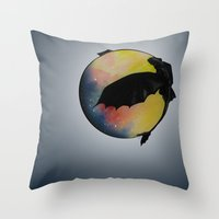 toothless Throw Pillows featuring Toothless by Emilee's Fine Art