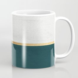 Deep Green, Gold and White Color Block Coffee Mug
