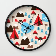 Scandinavian retro moose pattern Wall Clock