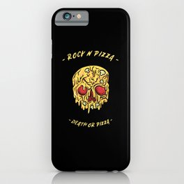 Rock n pizza, pizza skull iPhone Case