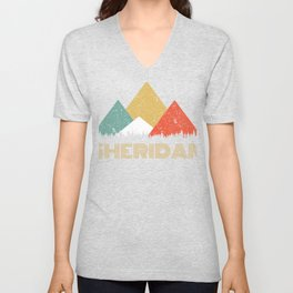Retro City of Sheridan Mountain Shirt Unisex V-Neck