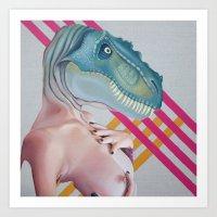 queer Art Prints featuring Queer Dinosaur by Kim Leutwyler