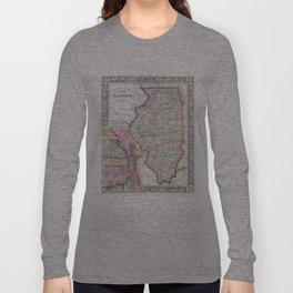 Vintage Map of Illinois (1861) Long Sleeve T-shirt
