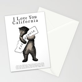 i love you california Stationery Cards