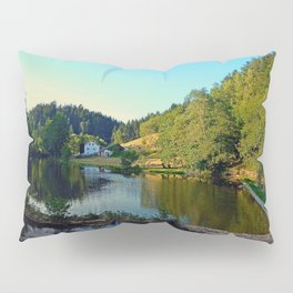 A summer evening along the river | waterscape photography Pillow Sham