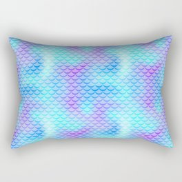 Mint Blue Mermaid Tail Abstraction. Cool Fish Scale Pattern Rectangular Pillow
