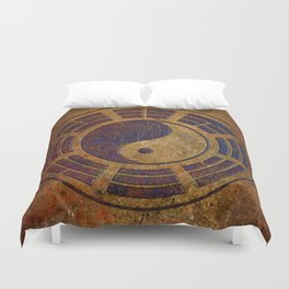 Purple Yin Yang Sign on Granite Duvet Cover