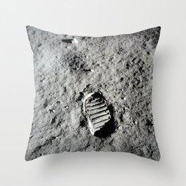 Boot Print on Moon Throw Pillow
