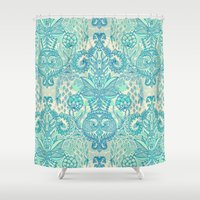 stickers Shower Curtains featuring Botanical Geometry - nature pattern in blue, mint green & cream by micklyn