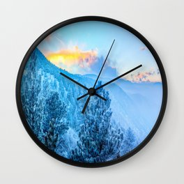 Snow Mountains Sunrise Wall Clock