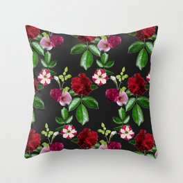 Exotic Floral Print (Black) Throw Pillow
