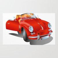 porsche Area & Throw Rugs featuring Porsche by Paola Canti