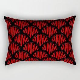 Beautiful Red Black Scalloped Pattern Rectangular Pillow