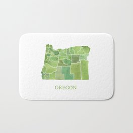 Oregon Counties watercolor map Bath Mat