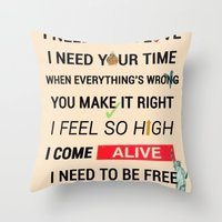 ellie goulding Throw Pillows featuring I Need Your Love ; Ellie Goulding feat. Calvin Harris by Wis Marvin