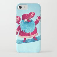 snowboard iPhone & iPod Cases featuring Snowboard Santa by Lime