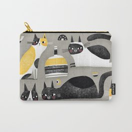 BLACK WHITE & YELLOW CATS Carry-All Pouch