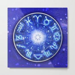 Zodiac Signs Blue Galaxy Circle Metal Print