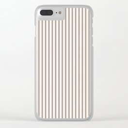 Mattress Ticking Narrow Striped Pattern in Chocolate Brown and White Clear iPhone Case