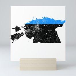 Distressed Estonia Map Mini Art Print
