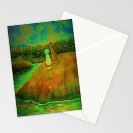 Dogs on hill side water view Stationery Cards