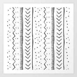 Moroccan Stripe in Cream and Black Art Print
