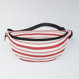 Red and White Candy Cane Stripes Thick and Thin Horizontal Lines, Festive Christmas Fanny Pack