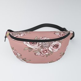 Rose Gold Flower Pattern Pink Flowers Fanny Pack
