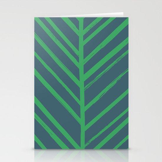 Painted Herringbone - in Emerald Stationery Cards