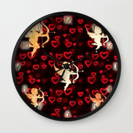 Cupids and Hearts Wall Clock