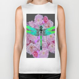 GREY COLOR EMERALD DRAGONFLY PINK ROSES Biker Tank