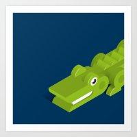 crocodile Art Prints featuring Crocodile by Mezoozoo