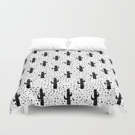 Black and White Modern Cactus and Triangle Geometric Duvet Cover