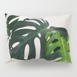 Minimalist Mid Century Scandinavian Style House Plant Mostera Green Leaf Zen Photo Pillow Sham
