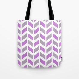 Lilac, gray and white chevron pattern Tote Bag
