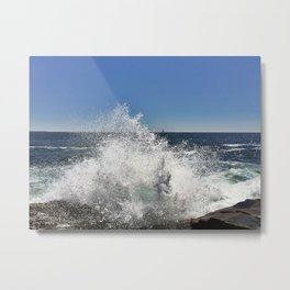 Waves Crashing on Pemaquid Point in Maine (2) Metal Print