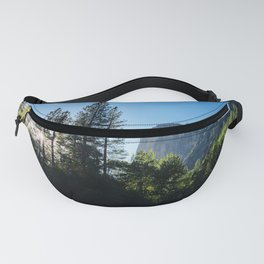 Sunlit Forest Trees and Cliffs in Yosemite Valley National Park Fanny Pack